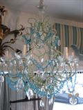 Celedon and Turquoise Chandelier