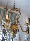 Antique Italian Tole Basket Chandelier